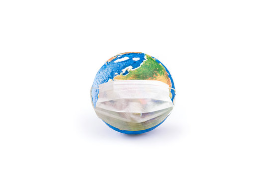 Model earth with a mask