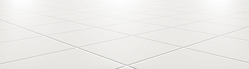 Ceramic tiles in the kitchen or bathroom on the floor 3d. Realistic white square terracotta. Perspective and light - vector illustration. Fotomurales