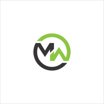 Initial letter mw or wm logo vector design