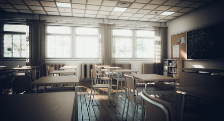 interior of a traditional school with wooden desks and chairs.