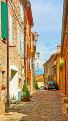 Wall Mural - Old street in Santarcangelo di Romagna town