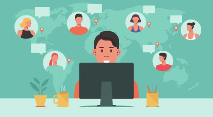 people from around the world working together online on computer, teleconference, video conference remote working, work from home and work from anywhere concept, vector flat illustration Fotobehang