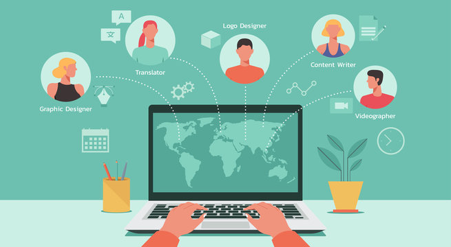 human hand searching and hiring freelancers on laptop computer from around the world, remote working online, work from home, work from anywhere, new normal concept, vector flat illustration