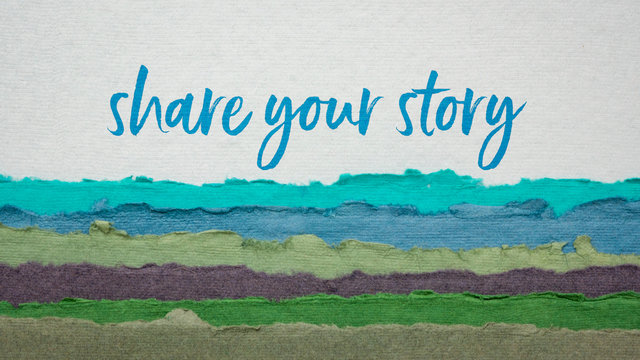 share your story  handwriting on a handmade paper