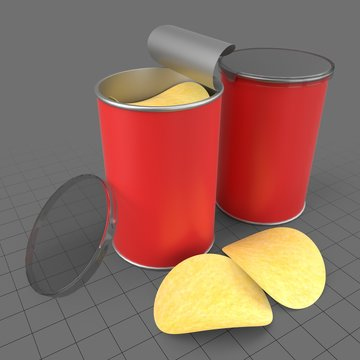 Potato chips in tube containers