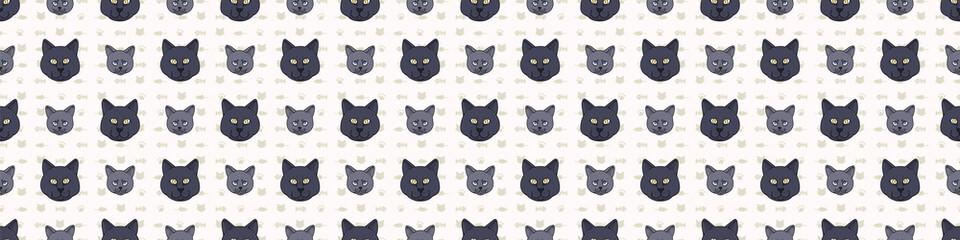 Cute cartoon British shorthair cat and kitten face seamless border pattern. Pedigree kitty breed domestic kitty background. Cat lover English purebred washi ribbon. Feline EPS 10 trim.  Fotoväggar