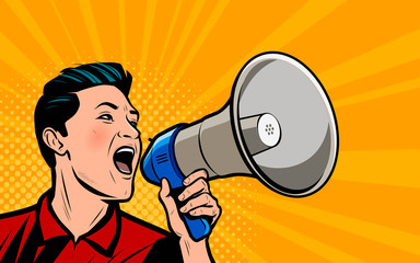 Businessman shouting loudly into loudspeaker. Retro comic pop art vector illustration