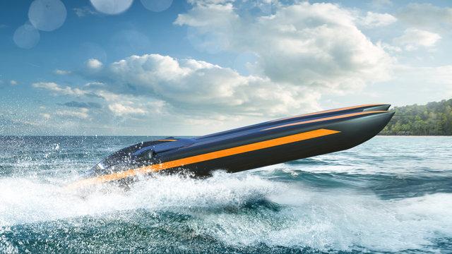 Super boat speed racing. Render 3d. Illustration.