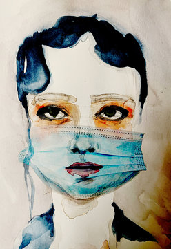 A figurative watercolor portrait of a female wearing a mask.