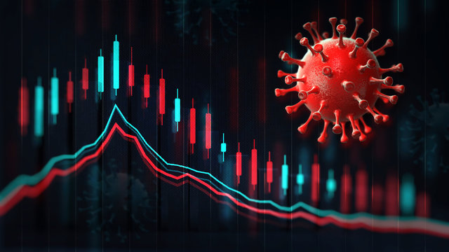 Economic graph chart and business analysis, red coronavirus macro on screen and blurred background. Business and economy 3D illustration.
