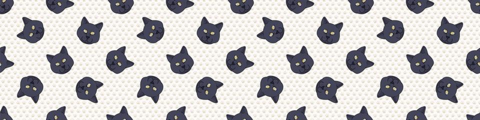 Cute cartoon British shorthair cat face seamless border pattern. Pedigree kitty breed domestic kitty background. Cat lover English purebred washi ribbon. Feline EPS 10 trim.  Fotoväggar