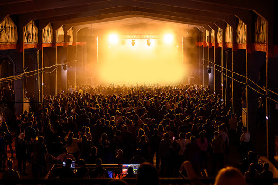 large lit scene and the crowd in front of it. full hall at a music concert. all festival tickets sold