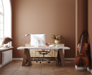 Fototapete - Work from home, home office, 3d render