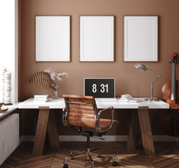 Wall Mural - Mockup poster in home interior background, home office, 3d render