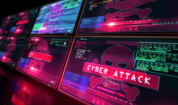 Cyber attack with skull symbol alert on screen