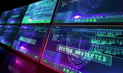Cyber security with shield symbol alert on screen