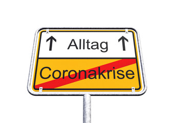 3d Illustation - Ortsschild - Ortstafel - SARS-CoV-2 - Coronakrise - Alltag - Coronavirus
