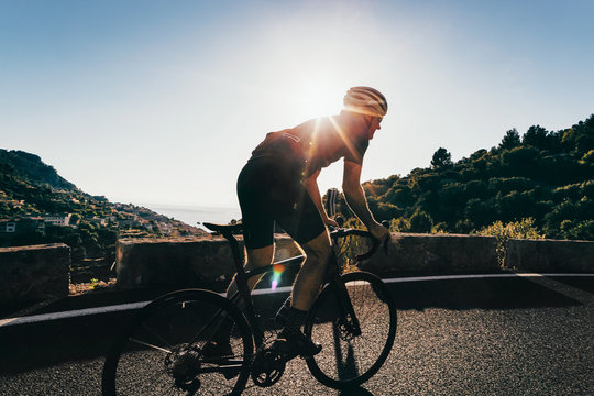 Anonymous Road Cyclist Going Uphill