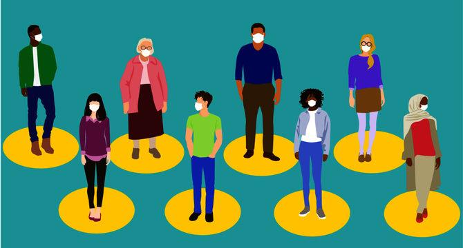 Social Distancing Concept Image, Group of Diverse Standing People Wearing Protective Medical Face Masks,  flat digital vector illustration