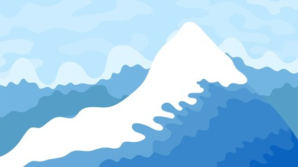 Fototapete - Vector illustration. Minimalist flat blue landscape. Avalanche disaster. Snow falling from top of the mountain. Flat concept. Panoramic wallpaper. Design for poster, banner, website or game template