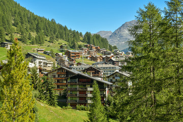 Wall Mural - View on mountain village of Saas-Fee in Switzerland