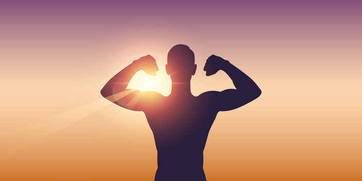 strong muscular man silhouette on sunny background vector illustration EPS10