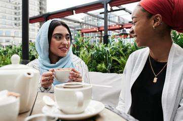 Conversation terrace with tea.