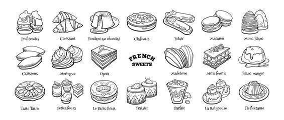 Collection of traditional french desserts. Hand drawn sketch in doodle style. Fotobehang