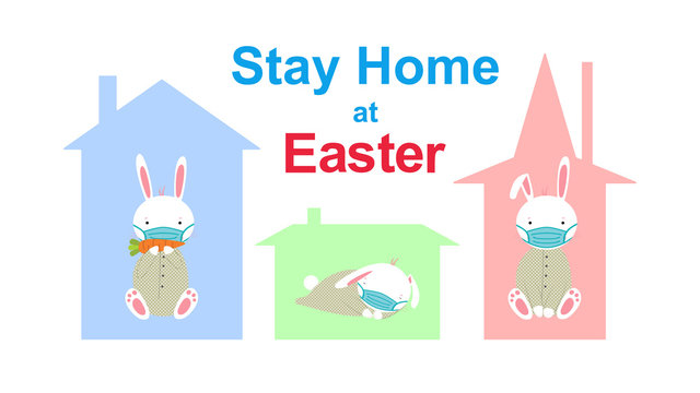 Beautiful bunny with medical mask in colorful houses with roofs remained at home. Stay home at Easter. Bunny sleeps eats a carrot, looks. Isolated vector. Coronavirus quarantine. Covid-19 rabbit