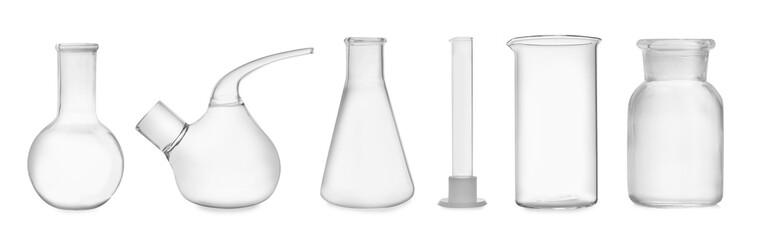 Fototapete - Set of laboratory glassware on white background. Banner design