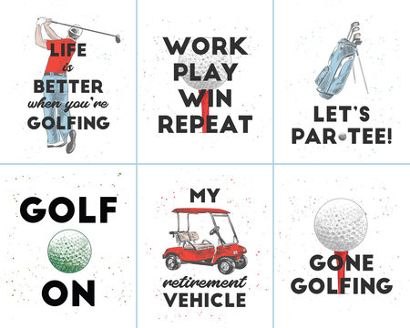 Set of vector engraved style posters, decoration and t-shirt design. Hand drawn sketches of golf with modern motivational sport typography. Detailed vintage etching style drawing.