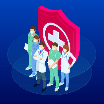 Isometric doctors and nurses in a medical mask, protecting health and life concept. Thank you doctors and nurses working in the hospitals and fighting the coronavirus.