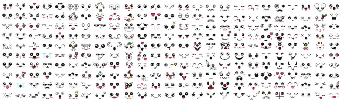 Kawaii cute faces. Mega Big Set, emotions, set, smiley, big, cartoon, anime, animal, avatar, people, emotion, face, art, design, chat, character, collection, diverse, scribble, degeneration, comic.