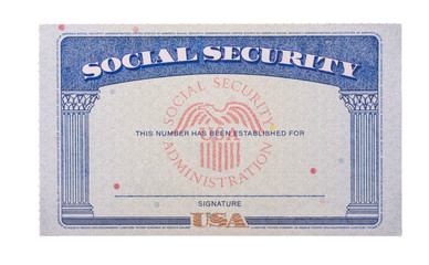 Blank and empty unfilled USA social security card isolated against a white background