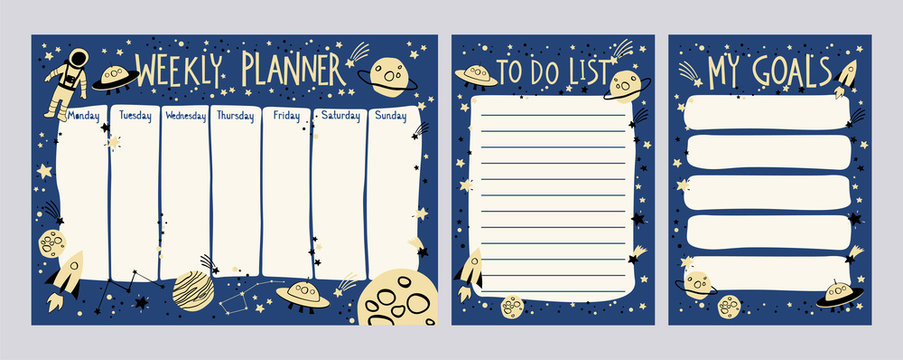 Weekly planner ans To Do List with space theme in cartoon style. Kids schedule design template
