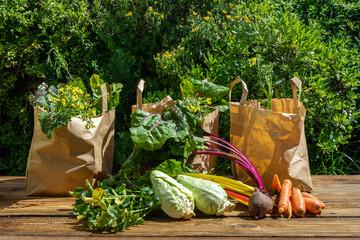 Des légumes d'hiver prêts à être répartis et vendus dans des emballages en papier