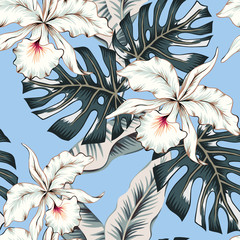Tropical white orchid flowers, monstera, banana palm leaves, blue background. Vector seamless pattern. Jungle foliage illustration. Exotic plants. Summer beach floral design. Paradise nature
