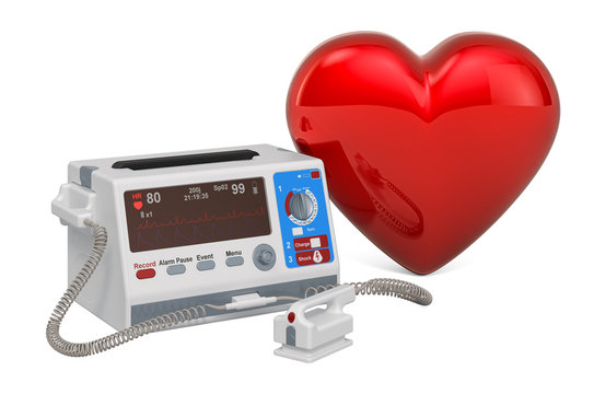 Defibrillator with red heart, 3D rendering