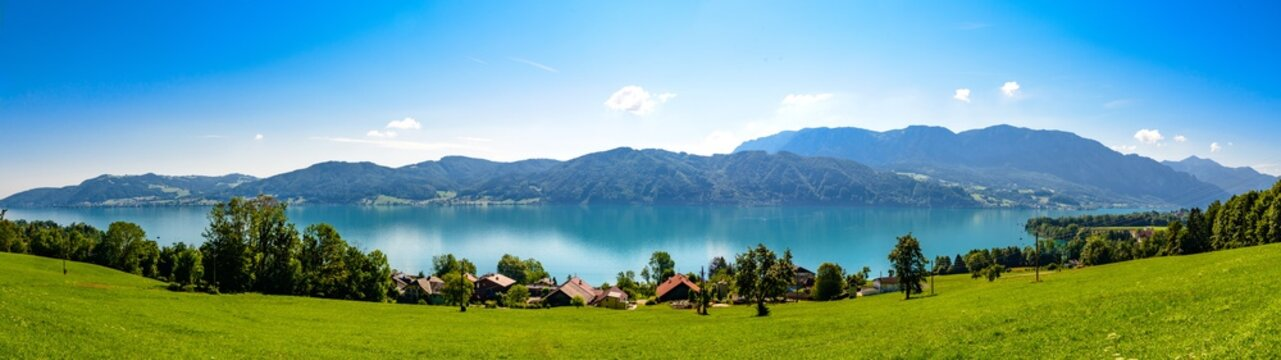Beautiful panorama countryside  view on Attersee lake im Salzkammergut alps mountains by in Nussdorf, Zell am Attersee. Upper Austria, nearby Salzburg.