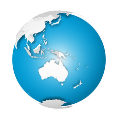 Fototapete - Earth globe. 3D world map with grey political map of countries dropping shadows on blue seas and oceans. Vector illustration
