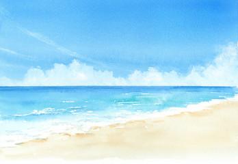 Foto auf AluDibond Blau 空と海 水彩画
