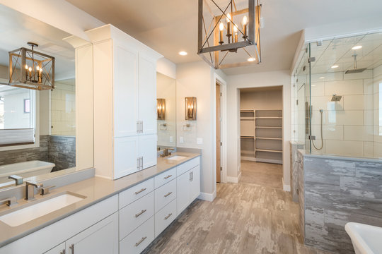Elegant Farm House Master Bathroom with Soaking Tub