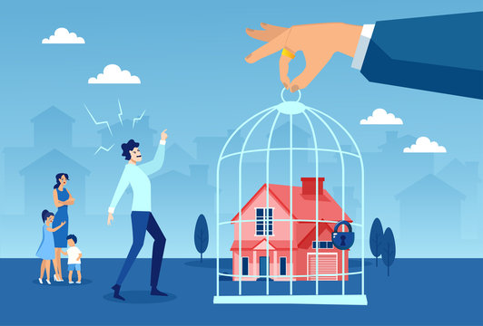 Foreclosure concept. Vector of a stressed young family being evicted from their house