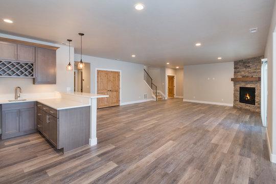 Basement Bonus Room with Built-in Wet Bar