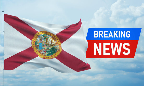 Breaking news. World news with background waving flag of the states of USA. State of Florida flag. Pandemic 3D illustration.