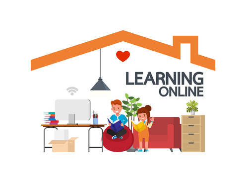 Distance learning online education classes for children during coronavirus. Social distancing, self-isolation and stay at home concept. Kid character vector design. no5
