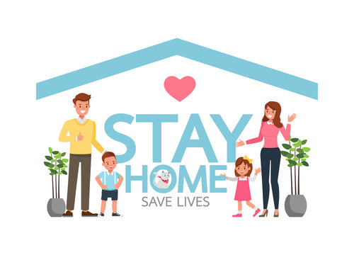 Stay home during the coronavirus epidemic. Social distancing, self-isolation concept. Family in self quarantine, protection from virus. Character vector design. no4