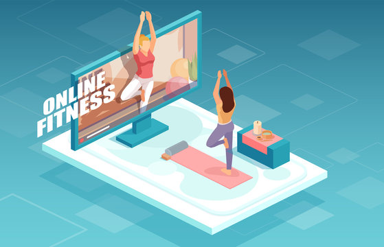Vector of a fit woman practicing yoga together with fitness instructor on TV screen.
