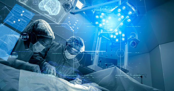Operating room Doctor or Surgeon anatomy on Advanced robotic surgery machine futuristic virtual interface, robotic surgery are precision, miniaturisation future of tomorrow healthcare and wellness