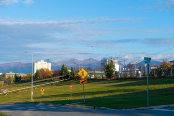 Quyana Park in downtown Anchorage with Chugach Mountains at the background, Alaska, AK, USA.